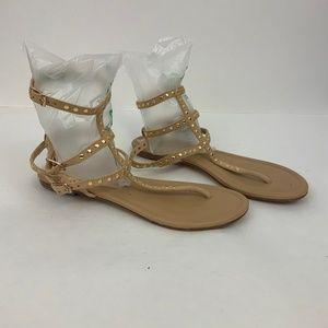 Raye - Revolve Tan Ankle Strap Flat Leather Sandal